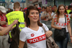 Euro2012 - Polish girl in national t-shirt Royalty Free Stock Image