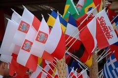 Euro2012 - Polnische Markierungsfahnen Lizenzfreies Stockfoto