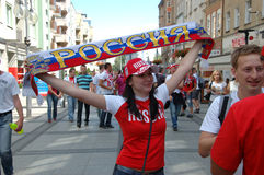 Euro2012 - Russian female fan Royalty Free Stock Photos