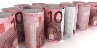 10 euroanmärkningar Rolls stock illustrationer