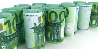 100 euroanmärkningar Rolls stock illustrationer