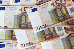 Euroanmärkningar som bildar bakgrund Royaltyfria Foton