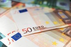 50 euroanmärkningar stänger sig upp Royaltyfri Bild