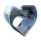 20 Euroanmerkungen alt als Form des Herzens lizenzfreie abbildung