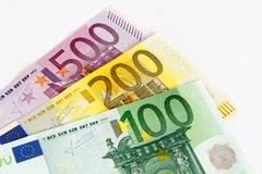 Euroanmerkungen mit Reflexion Stockbilder
