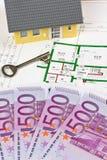 Euroanmerkungen und Plan eines Hauses Stockfotos