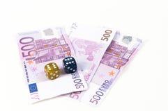 Euroanmerkungen und Würfel Lizenzfreies Stockbild