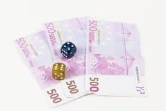 Euroanmerkungen und Würfel Lizenzfreie Stockfotografie