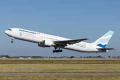EuroAtlantic Airways Boeing 767-300. Portuguese EuroAtlantic Airways Boeing 767-300 with registration CN-TSV taking off runway 36L Polderbaan of Amsterdam royalty free stock photo