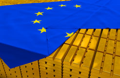 Eurobank gold reserve stock. Eurobank (euro zone) gold reserve stock: golden bars (ingots) are covered with eu flag in the storage (treasury) as symbol of gold Stock Photography