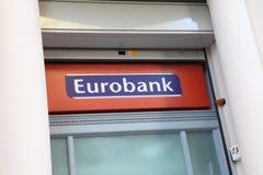 Eurobank sign. Heraklion, Crete, Greece - July 27, 2010: The sign on a branch of Eurobank in Heraklion (Iraklio), Crete. Greek banks are facing potential Stock Photos