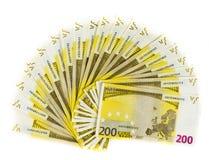 Eurobanknote des Geldes 200 lokalisiert auf weißem Hintergrund Lizenzfreie Stockfotografie