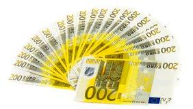 Eurobanknote des Geldes 200 lokalisiert auf weißem Hintergrund Stockfotografie