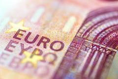 Eurobanknote in einem Makroschuß Stockbilder