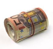 Eurobanknote gefaltet in einer Rolle Lizenzfreies Stockbild