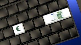 Eurobanknote und Zeichen auf der Laptoptastatur Stockfotografie
