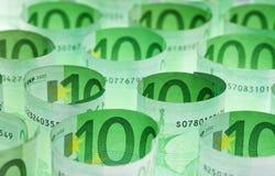 Eurobanknotegeldhintergrund Stockbild