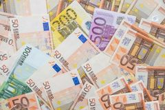 Eurobanknoten als Hintergrund Stockfoto
