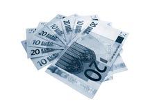 Eurobanknoten auf Weiß Stockfotografie