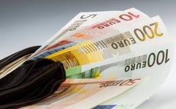 Eurobanknoten in der ledernen Mappe Stockbilder