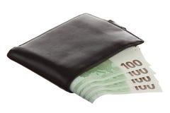 Eurobanknoten in der schwarzen ledernen Mappe Stockbilder