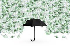 Eurobanknoten, die unten auf Regenschirm fliegen und fallen Lizenzfreies Stockbild