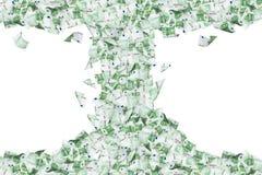 Eurobanknoten, die unten in Tornado fliegen und fallen Stockbild