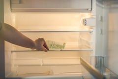 Eurobanknoten in einem leeren Kühlschrank: eine Handvoll von 100 Eurobanknoten in einem leeren Kühlschrank Weibliches Handnehmeng Stockfotos