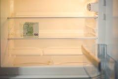 Eurobanknoten in einem leeren Kühlschrank: eine Handvoll von 100 Eurobanknoten in einem leeren Kühlschrank Weibliches Handnehmeng Lizenzfreie Stockfotos