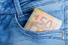 Eurobanknoten in einer Tasche Lizenzfreies Stockfoto