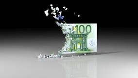 Eurobanknoten fällt auseinander Stockbilder