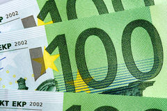 100 Eurobanknoten-Hintergrund Lizenzfreies Stockbild
