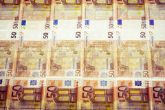 Eurobanknoten nebeneinander Stockbild