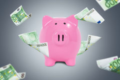 Eurobanknoten um Sparschwein Lizenzfreie Stockbilder