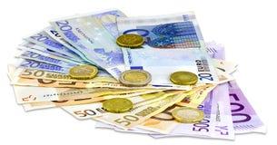 Eurobanknoten und Münzen Lizenzfreies Stockfoto