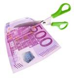 Eurobanknoten und Scheren Stockfotos