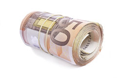 50 Eurobanknoten zusammen gerollt und eingewickelt Stockfotografie