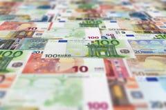 Eurobanknotenbodenhintergrund Stockfotos