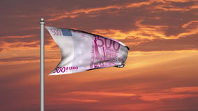 Eurobanknotengeldflagge bei Sonnenuntergang stock abbildung