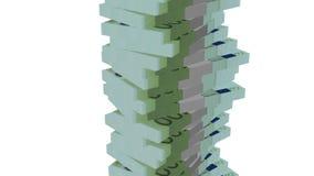 Eurobanknotengeldturm auf Weiß stock abbildung