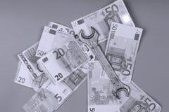 Eurobanknotenhintergrund Stockbild