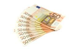 Eurobanknotenwert 50 Stockfotografie