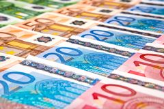 Eurobanknotes na perspectiva Imagem de Stock