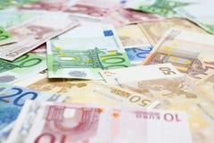 Eurobargeldhintergrund Stockfotografie