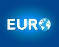 Eurobokstav med världssymbol Fotografering för Bildbyråer