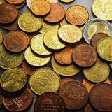 Eurocent mynt Arkivfoton