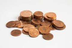 Eurocent prägt, Stapel von Eurocentmünzen Lizenzfreie Stockbilder