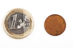 Eurocent slut upp finansiell kriseuro fotografering för bildbyråer