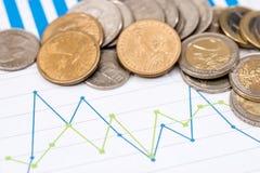 Eurocent und Dollarcent auf Geschäftsdiagramm Stockbild