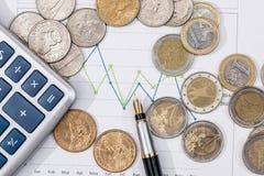 Eurocent und Dollarcent auf Geschäftsdiagramm Stockfotografie